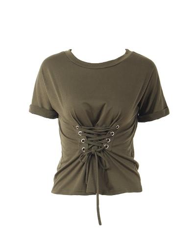 Trendy Women T-shirt Criss Cross Lace Up Bandage Holes Eyelet Round Neck Short Sleeve Casual Tops