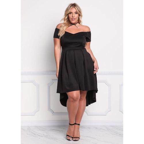 Frauen Plus Size Off Schulter Kleid Unregelmäßiger Slash Neck Ruffle Elegant A-Line Party Kleid Schwarz / Pink