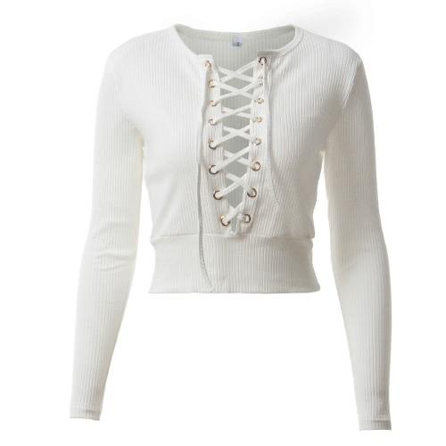 Mujeres atractivas Bodycon culo superior de encaje de encaje O-cuello de manga larga Casual Sólidos Slim Top