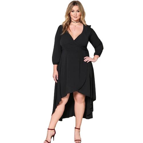 Vestido sólido de las mujeres más el tamaño V-Cuello atractivo de las mangas largas A - alinee el vestido grande flojo grande grande del tamaño del partido negro / rojo