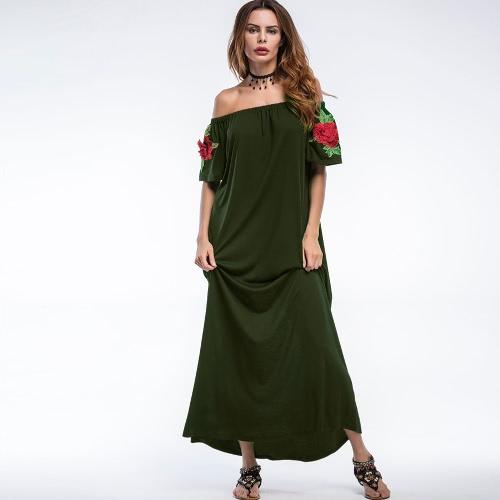 Vestido largo sexy de las mujeres bordado fuera del hombro Slash Neck Evening Club vestido de fiesta verde / verde oscuro
