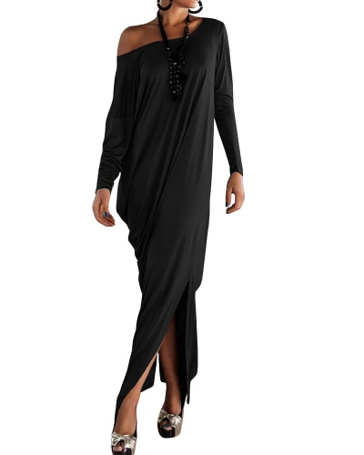 Kobiety Plus Rozmiar Casual Maxi Sukienka Z Ramioną Split Long Sleeve Solid Kaftan Long Loose Dress