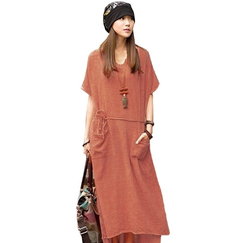 Oversized Summer Women Retro Casual Loose Long Dress Algodão Linho Solid Short Sleeve Ankle Length Dress Plus Size