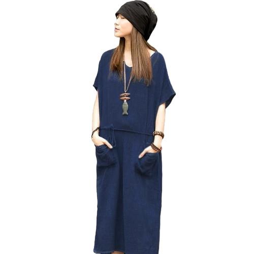 Oversized Verano Mujeres Retro Casual suelta vestido largo de algodón de lino sólido manga corta vestido de tobillo de talla más