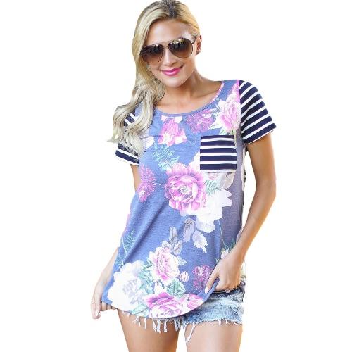 Sexy Mujeres Blusa Floral Imprimir Rayas O-cuello de manga corta irregular Hem T-Shirt Verano Casual Tops