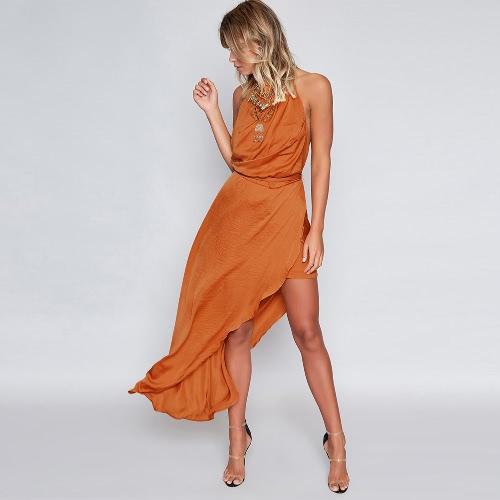 Sexy Women Maxi Dress Choker Backless Asymmetric Hem High Split sem mangas Cintura Strap Holiday Long Dress