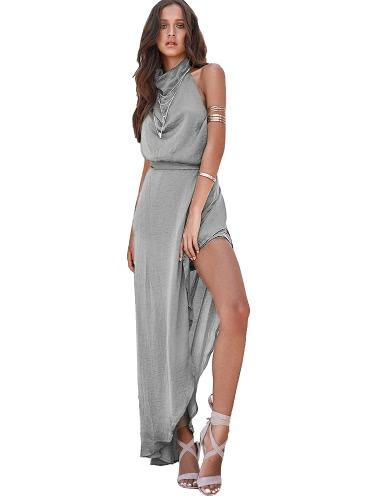 Sexy Mujeres Maxi Vestido Choker Backless Asymmetric Hem Alta Split sin mangas Cintura Strap Holiday vestido largo