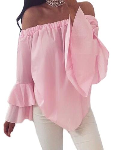 Blusa sólida de las mujeres atractivas de hombro Slash Neck Flare mangas largas Irregular Hem Elegante Top