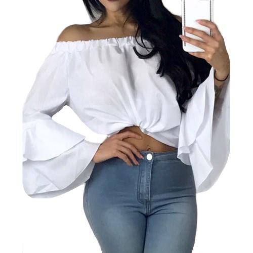 Сексуальная женская сплошная блузка с плечом Slash Neck Flare Длинные рукава Irregular Hem Elegant Top фото
