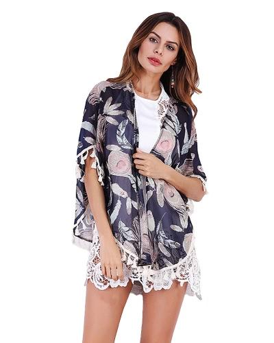 Nowe Kobiety Chiffon Kimono Cardigan Wydruk Kwiatowy Frented Tassels Loose Outerwear
