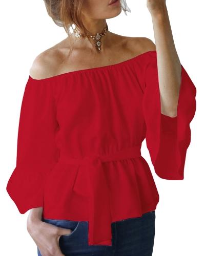 Nueva camisa de blusa de gasa sin mangas para mujer Sexy camisa de manga larga blusa sin mangas con cinturón