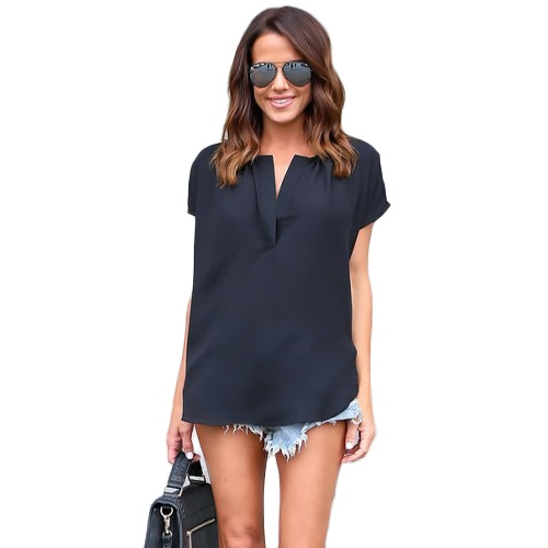 New Summer Women Solid Blusa V-Neck mangas curtas Irregular Hem Elegant Top Shirt