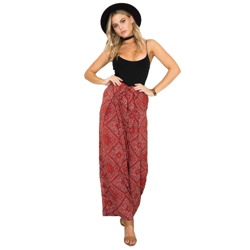Boho Women Pants Contrast Floral Paisley Print Straight Wide Legs