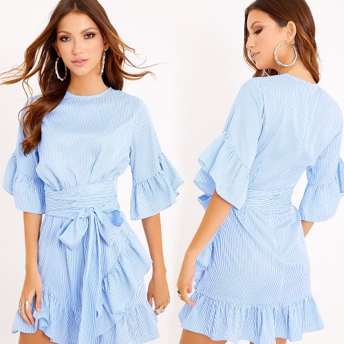 Mujeres Ruffles Striped Dress Flare Half Sleeves
