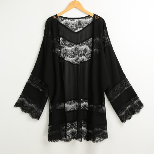 Fashion Summer Chiffon Floral Lace Boho Loose Cover Up Quimono feminino