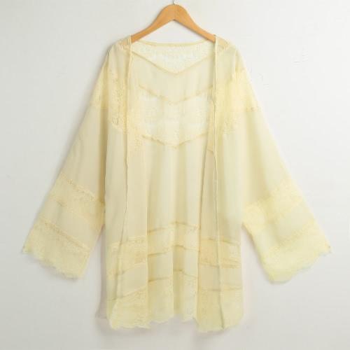 El cordón floral Boho de la gasa del verano de la manera suelta cubre el kimono de las mujeres