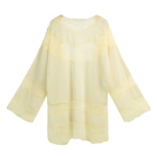 Women Chiffon Kimono Cardigan Floral Lace Boho Loose Outerwear Beachwear Cover Up Blouse Tops Black/Beige/White