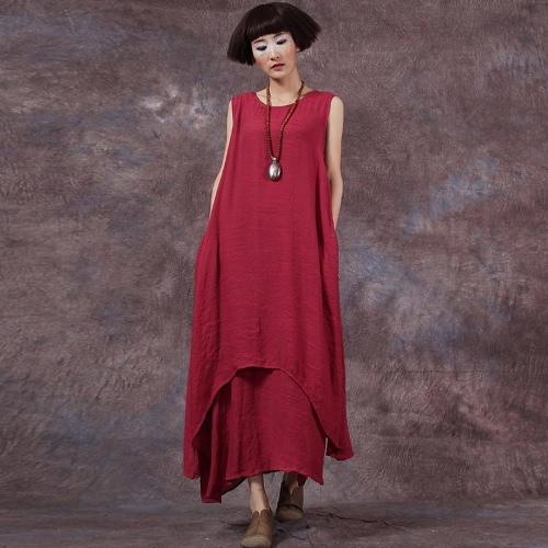 Casual Retro Women Loose Dress Solid Sleeveless O-Neck Bolsos Boho Long Maxi Dress Vestidos Plus Size