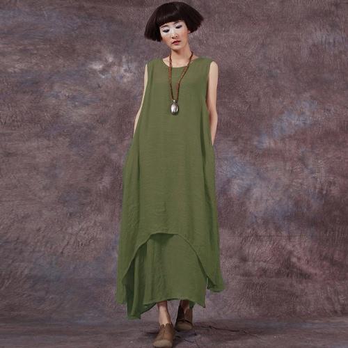 Vestido maxi largo sin mangas del O-Cuello del vestido flojo de las mujeres ocasionales de Boho Vestido maxi largo de Boho Vestidos Tamaño más