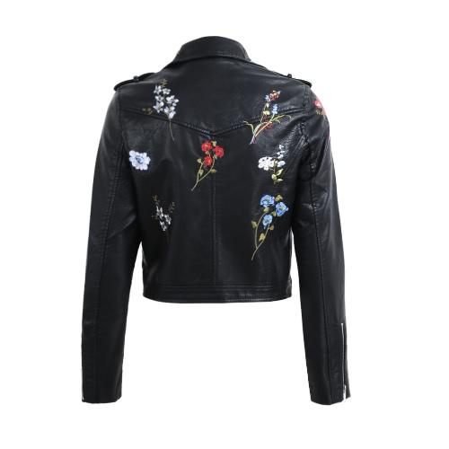 Art- und Weisefrauen-Stickerei-Blume PU-Faux-Lederjacken-Mantel