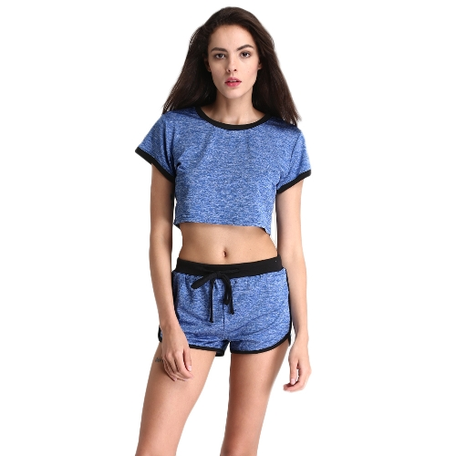 Mujeres Deporte Yoga Set de dos piezas Crop Top Shorts O-cuello mangas cortas cintura elástica Casual Sportswear Top Trousers