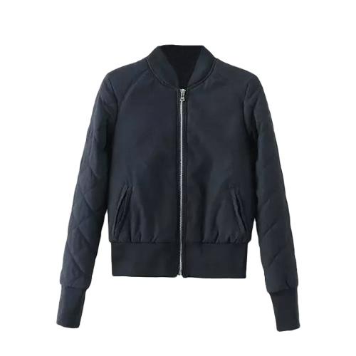 Invierno cálido chaqueta de bombardero mujeres Zipper acolchado de motocicleta de manga corta bolsillos acolchados delgado prendas de abrigo
