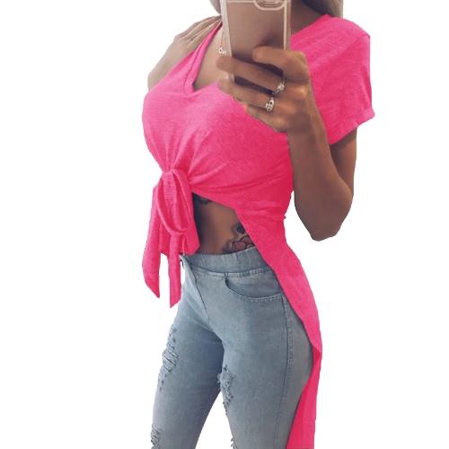 Mujeres Atractivas T-shirt Color Sólido V Nudo Lazo Irregular Manga Corta Largo Casual Tee Partido