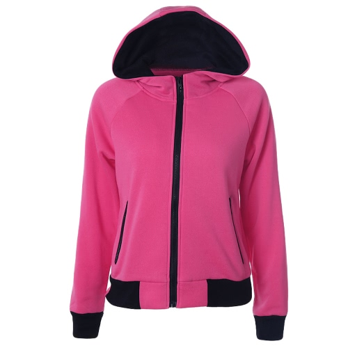 New Women Hoodies Sweatshirt Otoño manga larga con cremallera Hooded Coat Abrigo Streetwear Top
