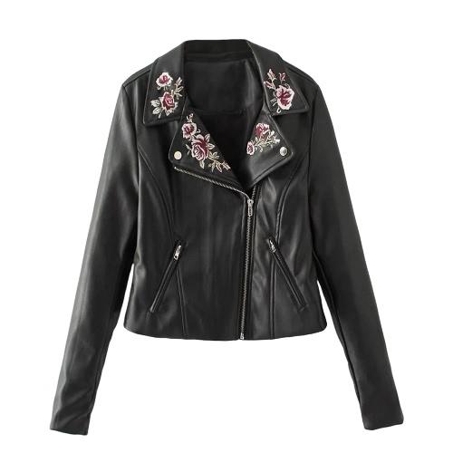 Frauen PU Lederjacke Blumenstickerei Zipper Biker Jacke