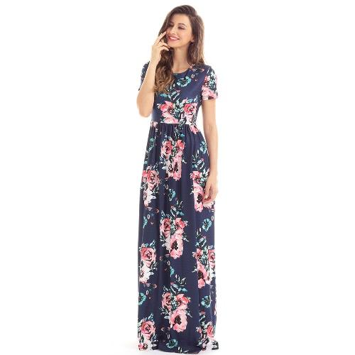 Vestiti lunghi Boho di disegno della tasca della stampa del fiore floreale della Boemia di vestito dal maxi delle donne dell'annata
