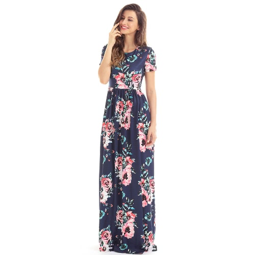 Mulheres Vintage Maxi Dress Bohemian Floral Flower Print Pocket Design Boho Long Dresses