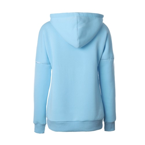 Fashion Women Hoodie Sweatshirts Drawstring Long Sleeve Pocket Casual Solid Warm Pullover Hooded Tops