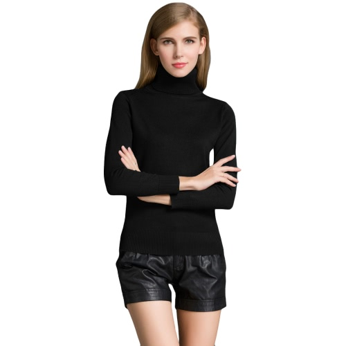 Moda de invierno de las mujeres suéter de punto de la tortuga cuello de manga larga