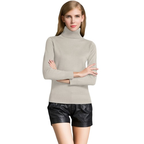 Moda Zima Damskie Swetry Dzianina Swetry z Turtle Neck Long Sleeves