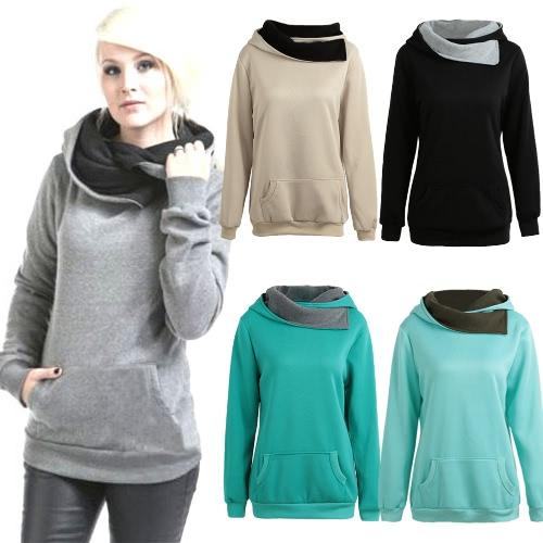 Spring Autumn Winter Women Casual Solid Hoodie Hooded Sweatshirt Pocket Long Sleeve Pullover Top