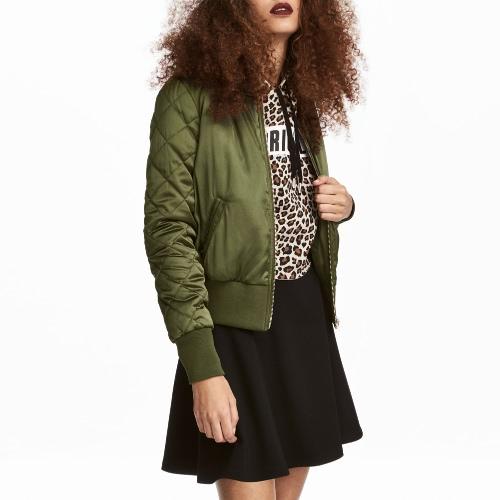 Moda mujer Satin bombardero chaqueta acolchada de manga larga de algodón corto