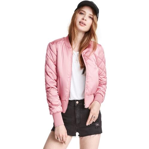 Fashion Women Satin Bomber Jacket Quilted Long Sleeve Cotton Short Jacket