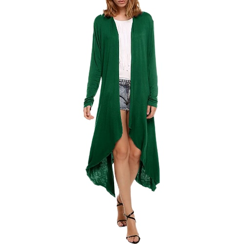 Mulheres novas Cardigan Plus Size Coat Solid Long Sleeve Asymmetry Hem Poncho Shawl Thin Coat
