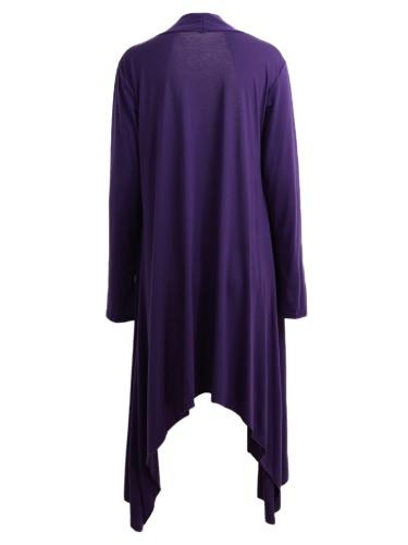 New Women Cardigan Plus Size Coat  Solid Long Sleeve Asymmetry Hem Poncho Shawl Thin Coat