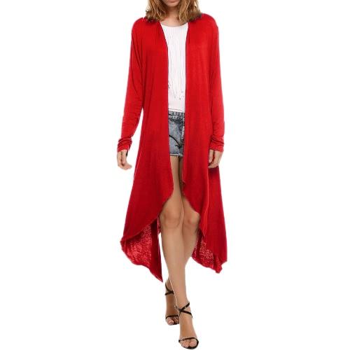 Nuevas mujeres Cardigan Plus Size Coat Solid manga larga Asimetría Hem Poncho Shawl Thin Coat