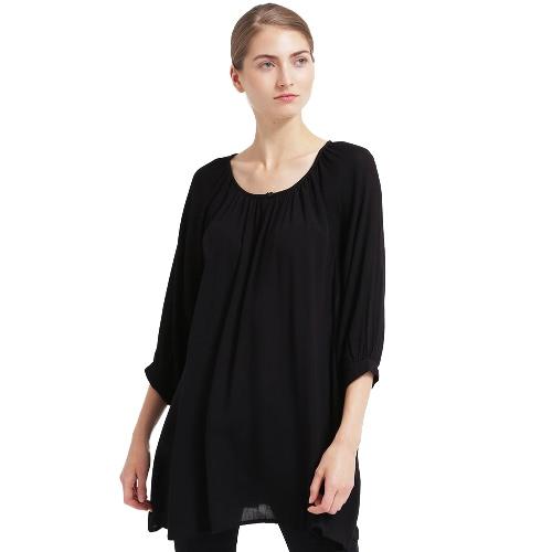 Frauen Plus Size Bluse Solor Farbe Asymmetrische Saum Drei Viertel Ärmel