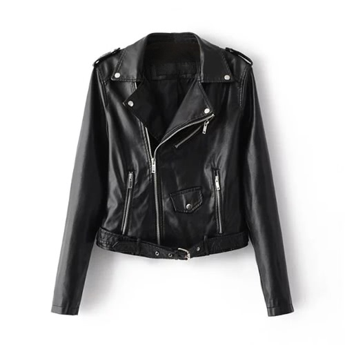Mode Frauen PU Faux Leder Jacke Mantel Reißverschluss Gürtel Lange Ärmel Basic Moto Jacke Oberbekleidung