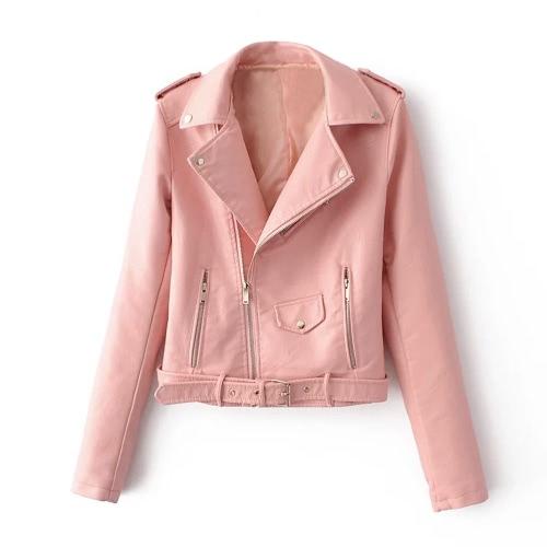 Moda mujer PU Faux chaqueta de cuero de la capa de cremallera Cinturón de manga larga básica Moto Chaqueta