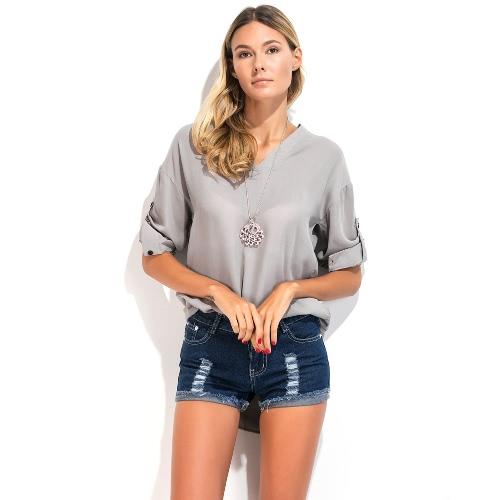 Camisa feminina blusa Outono luva longa profunda pescoço V Loose Casual blusa festa sexy top