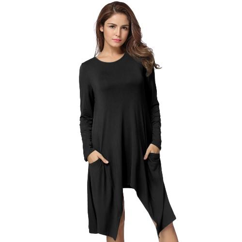 Otoño de las mujeres vestido de verano O-cuello de manga larga sólida suelta Asimétrica Flowy Swing Casual vestido de camiseta Negro / Gris / Verde Ejército