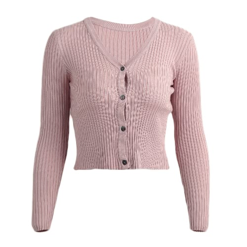 New Winter Women Bodycon Knitted Cardigan Stretchy Solid Button V-Neck Long Sleeves Casual Short Sweater Outerwear