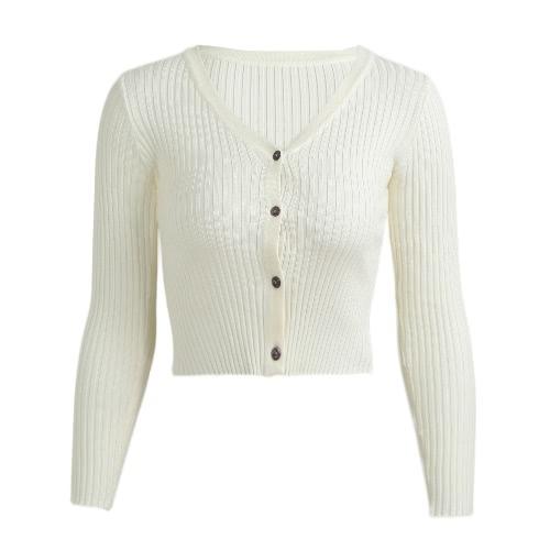 Las nuevas mujeres del invierno Bodycon hicieron punto la sudadera con capucha larga sólida elástico del botón del V-Cuello de las mangas largas del suéter ocasional