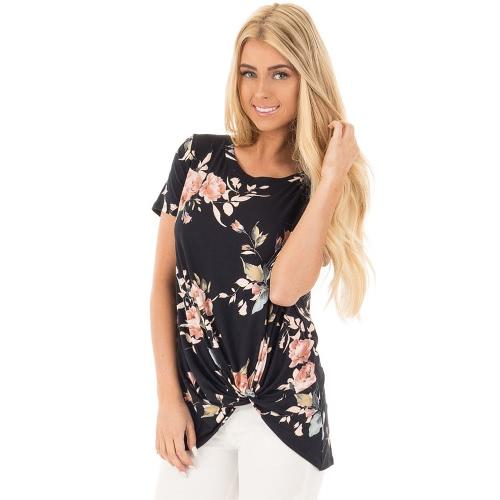 Weinlese-Frauen-T-Shirt Boho Blumendruck-Torsion-Knoten-Blusen-Kurzschluss-Hülsen-beiläufiges T-Stück-Oberseite