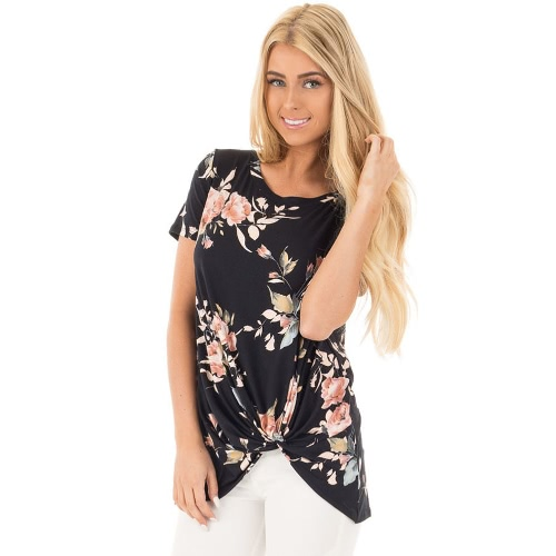 Vintage Women T-shirt Boho Floral Print Twist Knot Blusa Short Sleeve Casual Tee Top