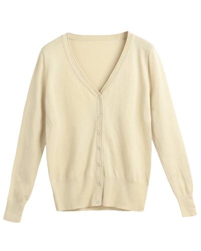 Nuevas mujeres sólido de punto cardigan suéter abrigo con cuello en v manga larga mujer prendas de punto casual Top